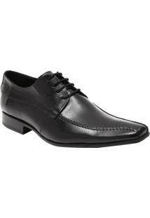 Sapato Social Slim Em Couro Com Pespontos- Pretocns
