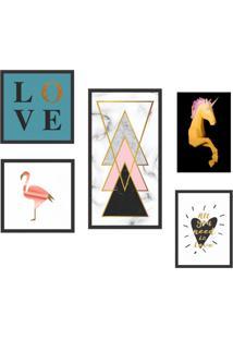 Conjunto Com 5 Quadros Decorativos Animal Love L Colorido