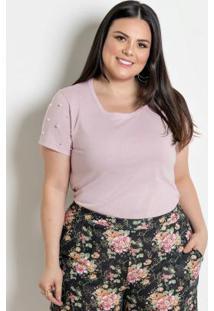 Blusa Com Pérolas Plus Size Rosa
