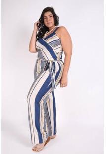Macacão Kaue Plus Size Abertura Frente Feminina - Feminino-Azul