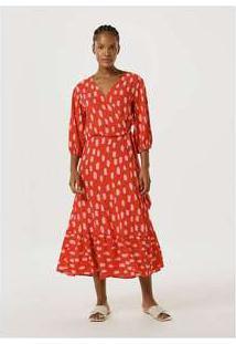 Vestido Midi Manga Longa Com Babado Vermelho