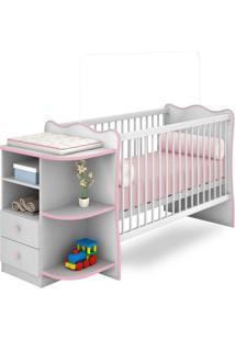 Berço Com Cômoda Doce Sonho P/ Jogo De Quarto Infantil Bebê - Branco/Rosa