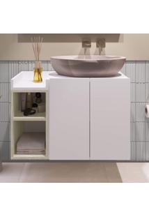 Gabinete Para Banheiro 2 Portas Belmiro Estilare Móveis Branco/Madeirado