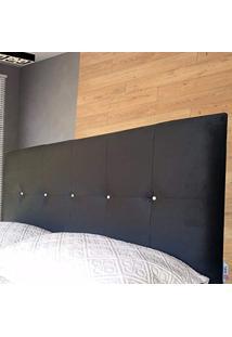 Cabeceira Painel Veneza Com Strass Casal Suede Liso Preto 140 X 60