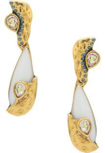 Camila Klein Par De Brincos Pedra Natural - Dourado