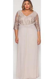 Vestido Almaria Plus Size Pianeta Longo Degagê Beg
