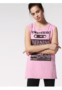 Camiseta Diesel T-Wessy-L Feminina - Feminino-Rosa