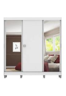 Guarda-Roupa Casal Madesa Napoli 3 Portas De Correr 2 Portas Com Espelho Com Pés Branco Branco
