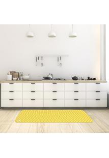 Tapete De Cozinha Mdecore Xadrez Amarelo 40X120Cm