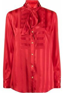 Dolce & Gabbana Striped Pussybow Blouse - Vermelho