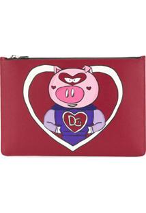 Dolce & Gabbana Clutch 'Pig' De Couro - Vermelho