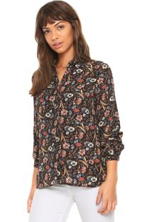 Camisa Facinelli By Mooncity Estampada Preta