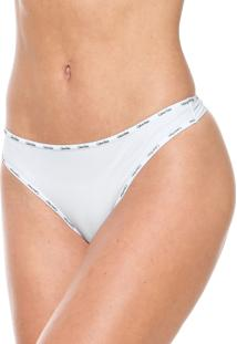 Calcinha Calvin Klein Underwear Fio Dental Logo Branca