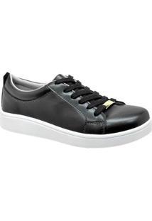 Tênis Sapatênis Casual Conforto Leve Confortável Cr Shoes Feminino - Feminino-Preto