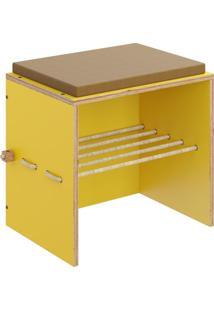 Puff Decorativo Com Futon E Prateleira Lyam Decor Cordel Amarelo