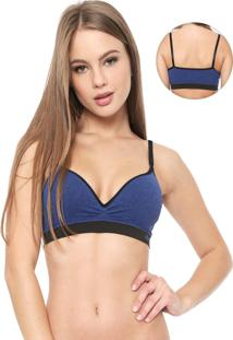 Top Malwee Liberta Push Up Azul-Marinho