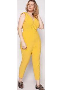 Macacão Almaria Plus Size Quebela Sevran Amarelo Amarelo