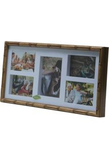 Painel Bambu Collection Para 4 Fotos 10X15 E 1 Foto 13X18 53,5X27,5X5Cm - Unissex