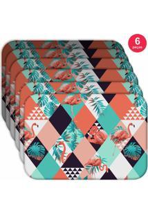 Jogo Americano Love Decor Wevans Flamingos Triângulos Kit Com 6 Pçs - Kanui