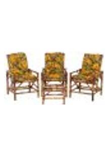 Conjunto Mesa E 3 Cadeiras De Bambu Cancun Para Área Edicula Jardim G27
