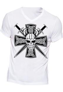 Camiseta Lucinoze Manga Curta Caveira Branca