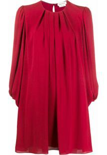 Alexander Mcqueen Vestido Reto Com Pregas - Vermelho