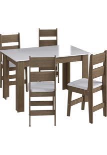 Conjunto Mesa Fixa 4 Cadeiras Marrom Mã³Veis Canã§Ã£O - Marrom - Dafiti
