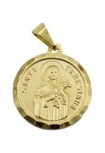 Pingente Tudo Jóias Santa Terezinha Folheado A Ouro 18K - Unissex-Dourado