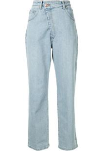 Eenk Calça Jeans Reta Cintura Alta Assimétrica - Azul