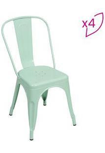 Or Design Jogo De Cadeiras De Jantar Retrã´ Verde ÁGua 4Pã§S