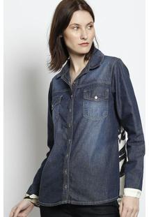 Camisa Jeans Com Recortes - Azul & Off Whitescalon