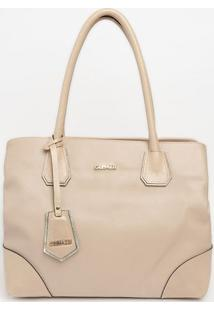 Bolsa Com Bag Charm & Recortes- Nude- 31X36X17Cmgriffazzi