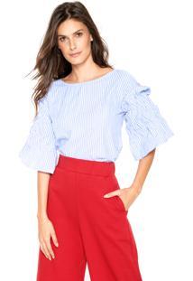 Blusa Fiveblu Listras Azul/Branca
