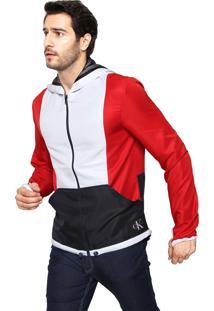 Jaqueta Calvin Klein Jeans Ckj New York Branca/Vermelha