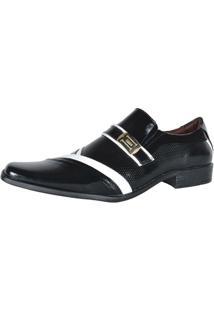Sapato Social Gofer Verniz Colmeia - Masculino-Preto