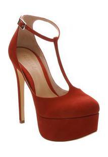 Schutz Sapato Meia Pata Em Couro Acamurã§Ado Vermelho Salto: 14Cm