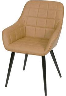 Cadeira Lounge Com Braco Courino Caramelo E Costura Quadriculada - 50023 Sun House
