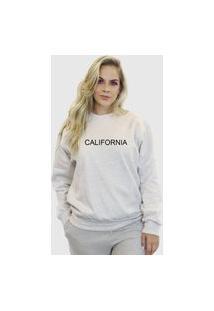 Blusa Moletom Feminino Moleton Básico Suffix Cinza Claro Estampa California