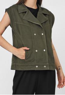 Colete Sarja Dimy Color Verde - Verde - Feminino - Algodã£O - Dafiti