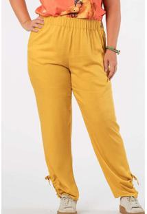 Calça Almaria Plus Size Munny Barra Vazado Amarelo