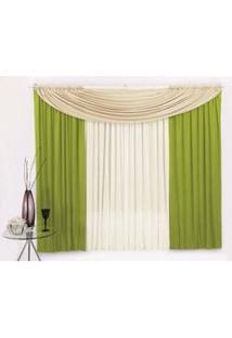 Cortina Kelly Clássica Com Bando Decorativo Para Sala Ou Quarto Em Tecido Malha Verde Com Palha 2,00