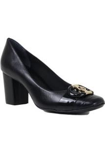 Sapato Jorge Bischoff Scarpin Salto Grosso Bico Quadrado Couro
