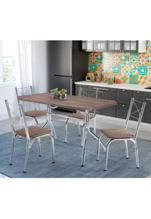 Conjunto De Mesa De Cozinha 4 Cadeiras Miami Couro Sintético Marrom