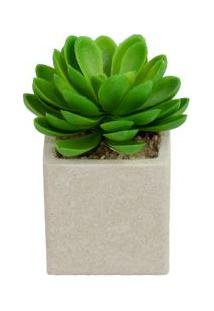Vaso Com Suculenta Artificial Flor De Lótus - Único