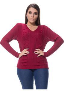 Blusa Logan Tricot Feminina Textura Duas Tranças Bordô