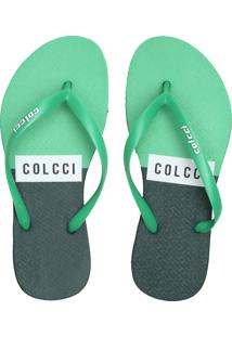 Chinelo Colcci Logo Bicolor Verde