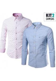 Kit 2 Camisas Masculinas / 1 Estampada E 1 Com Bolso Frontal
