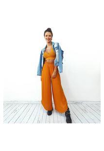 Calça Pantalona Fendas Mostarda La Lima-G Amarelo