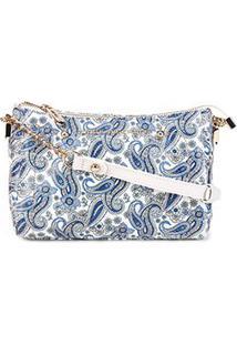 Bolsa Couro Jorge Bischoff Clutch Marrakesh Feminina - Feminino-Azul Claro