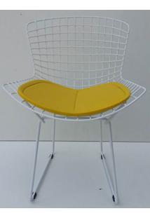 Cadeira Bertoia Pintada Branco Assento Amarelo - 22066 Sun House